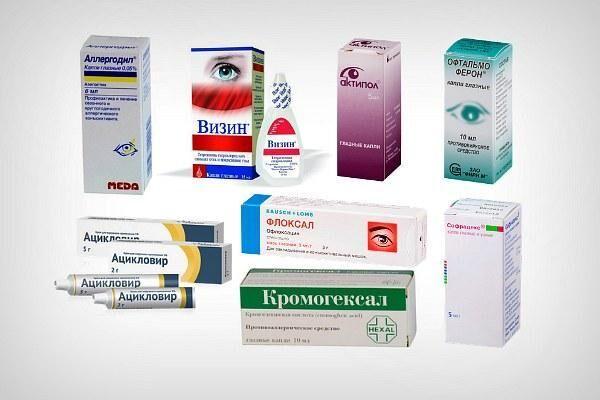 Лекарственные препараты для лечения покраснения уголка глаза