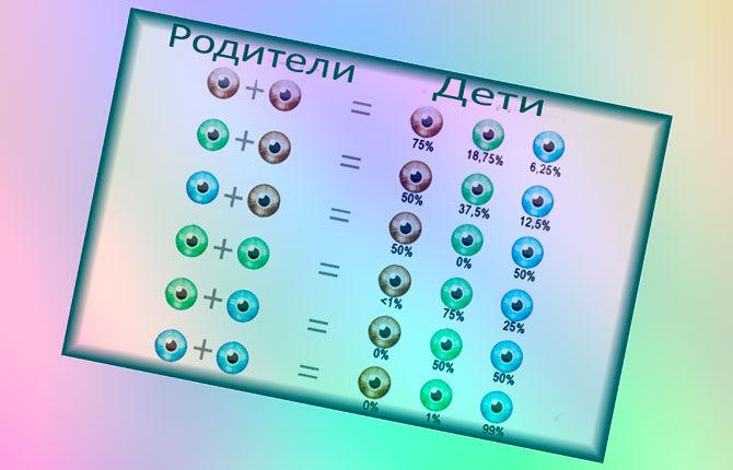 Вероятность влияния цвета глаз родителей